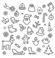 christmas icon set doodle christmas holiday vector image