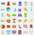 comfort house icons set cartoon style vector image vector image