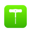 corkscrew with a metal spiral icon digital green vector image vector image