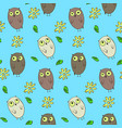 cute kids seamless pattern with funny owls vector image