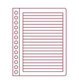 dark red line contour of striped notebook sheet in vector image vector image