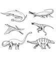 dinosaurs elasmosaurus mosasaurus brontosaurus vector image vector image