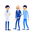 doctor and patient young man leads an elderly man vector image vector image