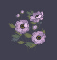 embroidery floral design with blue anemones vector image vector image