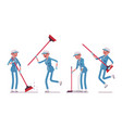female janitor sweeping the floor with a broom vector image