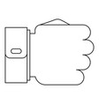 fist icon outline style vector image vector image
