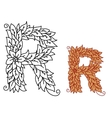 Floral and foliate font uppercase letter R vector image vector image