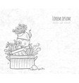 flower bed made old cooking pots and kettle vector image vector image