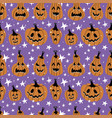 halloween seamless pattern with pumpkins and vector image