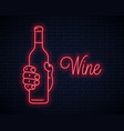 hand hold wine bottle neon sign male holding neon vector image