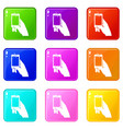 hand taking pictures on cell phone icons 9 set vector image vector image