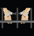 hands with handcuffts behind prison cell vector image