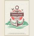 hello summer time retro poster design vector image