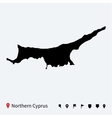 High detailed map of Northern Cyprus with pins vector image vector image