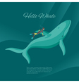 Isometric 3d of diver and whale underwater vector image vector image