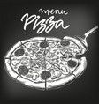 italian pizza drawn in white chalk on a black vector image vector image