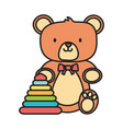 kids toy teddy bear and plastic pyramid toys vector image vector image