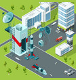 launch pad of the spaceport isometric buildings vector image