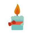 lit candle with ribbon bow icon image vector image vector image