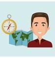 man map world global travel vector image