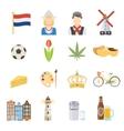 netherlands flat icons set vector image