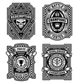 Ornate black and white emblem graphics set