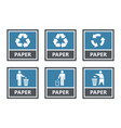 paper recycling labels set waste sorting icons vector image vector image
