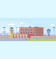 prison building surrounded high fence exterior vector image vector image