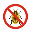Prohibition sign colorado beetles icon flat style vector image vector image