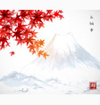 red japanese maple leaves and fujiyama mountain vector image
