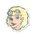 retro distressed sticker a cartoon happy woman vector image vector image
