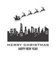 santa claus reindeer sleigh over city vector image