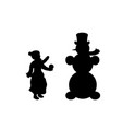 silhouette child sculpts snowman symbol happy new vector image vector image