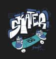 skate board typography urban t-shirt graphics vector image vector image