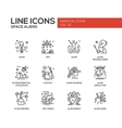 Space Aliens - line design icons set vector image vector image