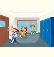 student at school hallway vector image