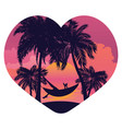 sunrise tropical island in the heart vector image vector image