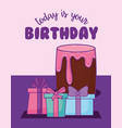 sweet cake birthday and gifts kawaii style vector image vector image