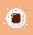 top view coffee cup on dish vector image vector image