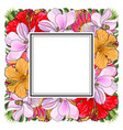 tropical flowers and palm leaves in floral vector image vector image