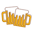 two beer glass foam beverage alcohol vector image vector image