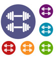 two dumbbells icons set vector image vector image