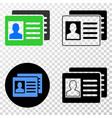 user id cards eps icon with contour version vector image