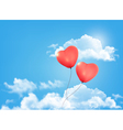 Valentine heart-shaped baloons in a blue sky with vector image