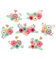 vintage flower set vector image