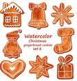 Watercolor Christmas gingerbread cookies vector image vector image