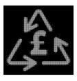 white halftone recycling pound cost icon vector image