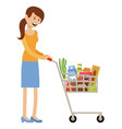 woman with a grocery basket vector image vector image
