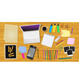 Work desk with office stationery vector image