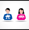 Male Female thinking about their home and car vector image
